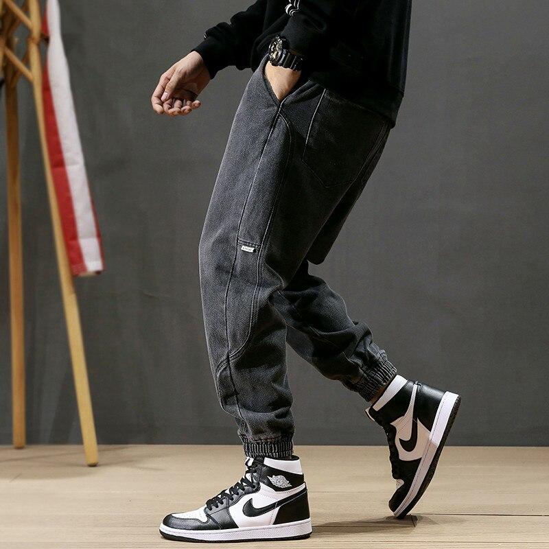 Fashion Streetwear Men Jeans Loose Fit Black Gray Color Spliced Designer Harem Jeans Homme Slack Bottom Hip Hop Jogger Jeans Men