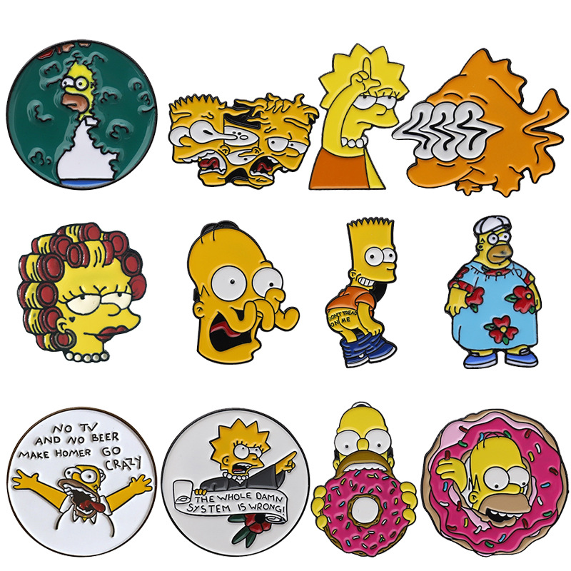 Cartoon Simpsons Metal Button Brooch Funny Personality Denim Clothes Decoration Alloy Pin Hat Ornament,значок