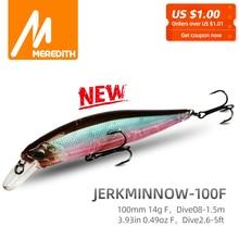 MRERDITH JERK MINNOW 100F 14g Hot Model Fishing Lure Hard Bait 24Color For Choose Minnow Quality Professional Depth0.8-1.5m