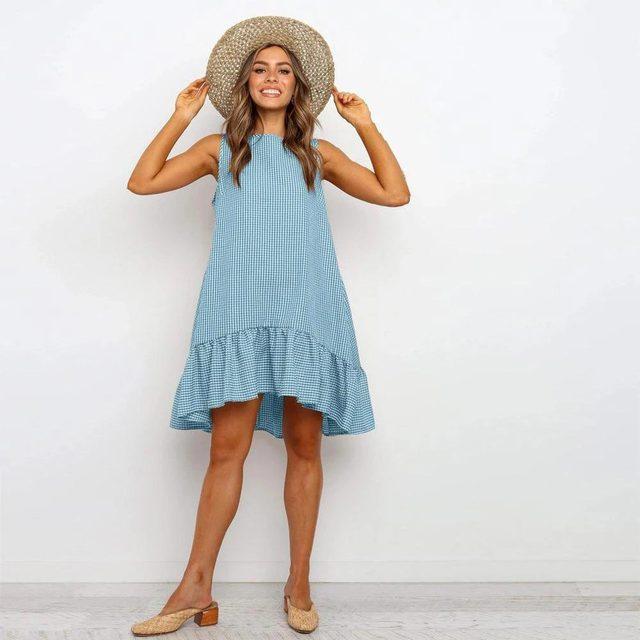 Фото женское пляжное платье в стиле бохо свободный сарафан клетку