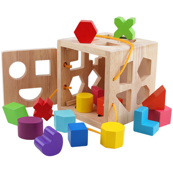 Handheld Intelligence Box Multi-Function Childrens Educational Shape Matching Building Blocks Wooden Wood Toys
