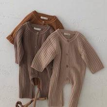 Printemps bébé garçons et filles combinaisons nouveau-né bébé couleur unie à manches longues tricoté barboteuse enfant en bas âge enfants pull vêtements chauds