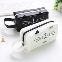 1 pçs criativo kawaii gato escola lápis casos sacos bonito gel caneta grande capacidade caixa bolsa escritório escola estacionária suprimentos