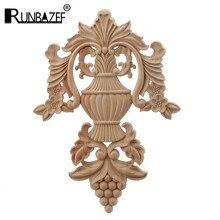 Runbazef promoções estilo europeu escultura em madeira decalque móveis para casa esculpida apliques janela decoração da porta estatuetas de madeira artesanato