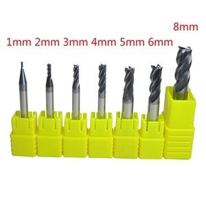 Image 2 - 7 개/몫 1mm   6mm 8mm 4 개의 4 플루트 초경 플랫 엔드 밀 세트 CNC 기계 밀링 커터 비트 금속 가공용 드릴 커팅