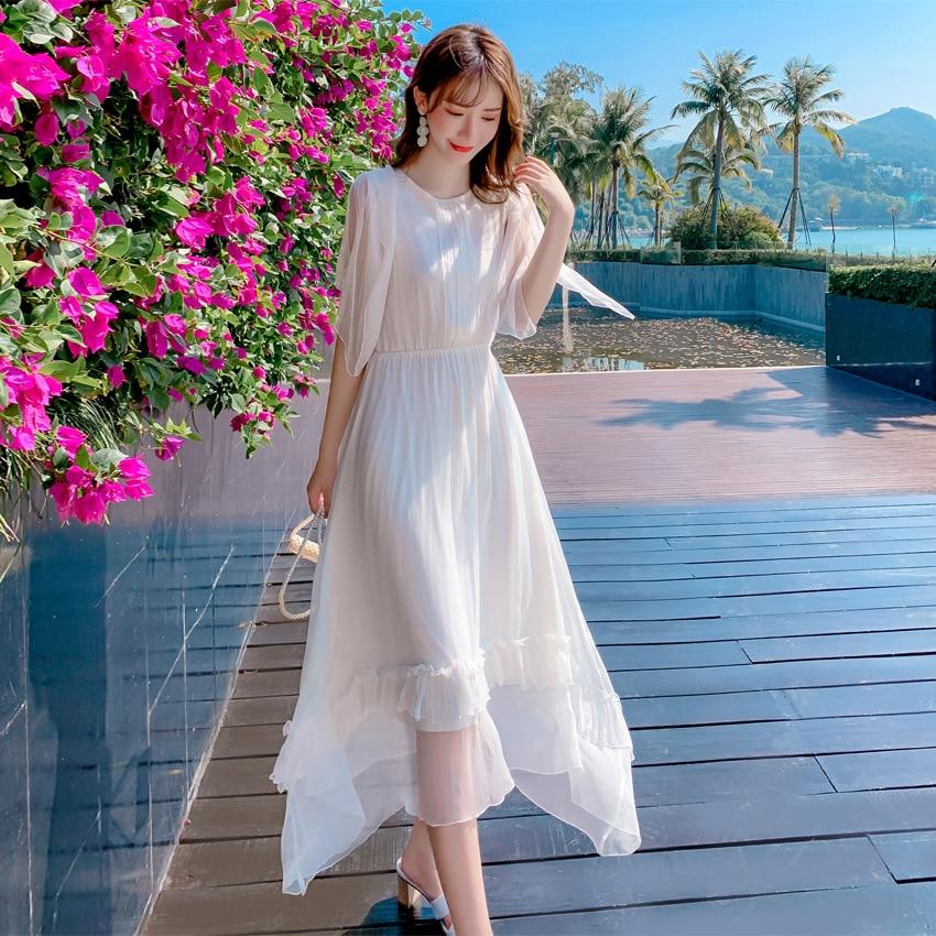 100% Natural Silk Dress Woman 2020 White Elegant Ruffles Pleated Beach Maxi Dresses For Women Summer
