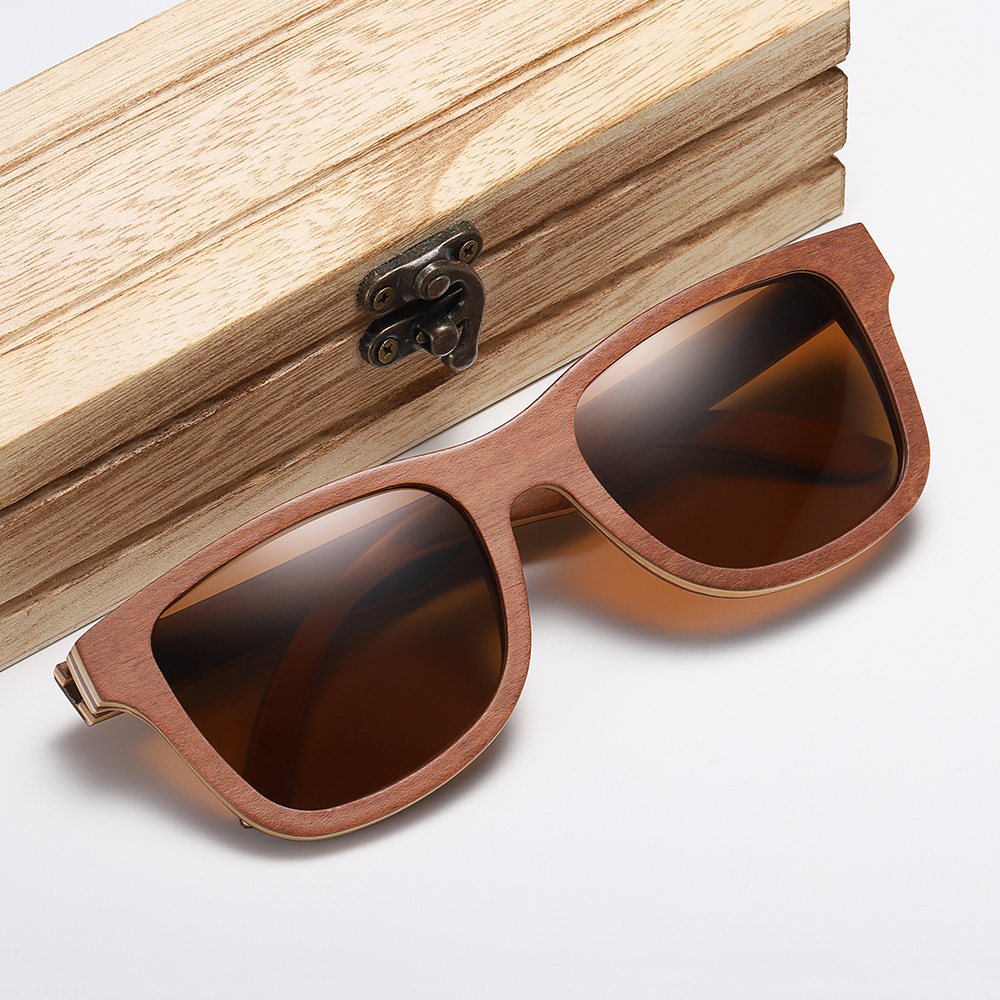 GM Polarized Sunglasses Women Men Layered Brown Skateboard Wooden Frame Square Style Glasses for Ladies Eyewear In Wood Box