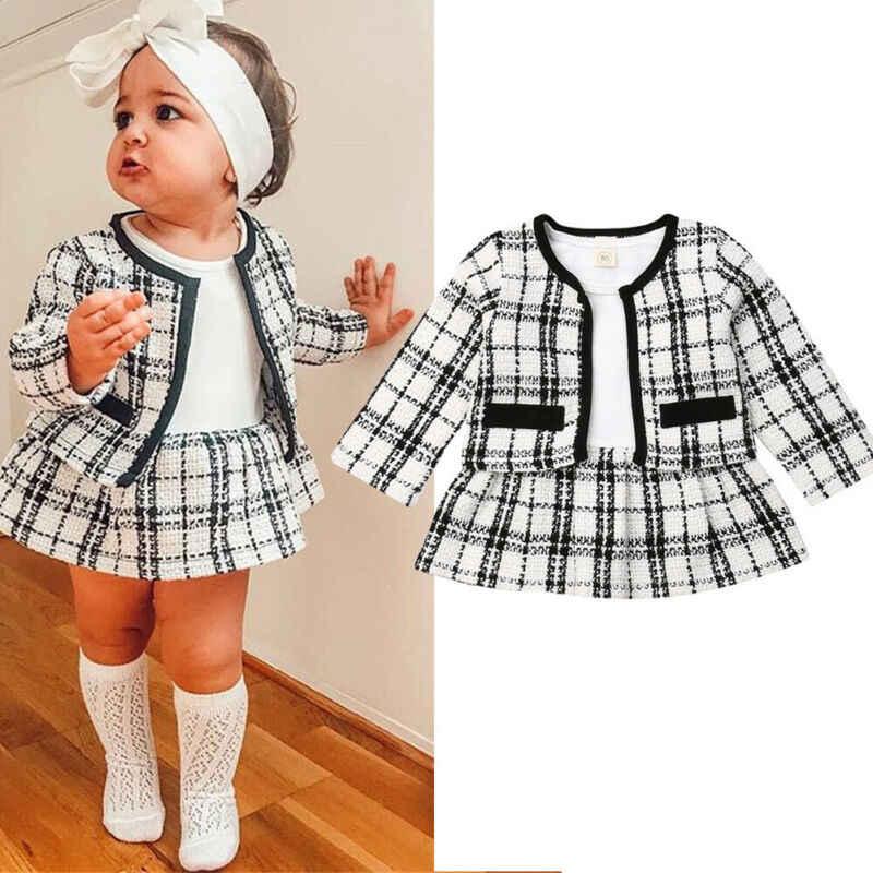 Girls Dress Plaid Autumn Winter Children Toddler Baby Clothes Kids Princess Tutu