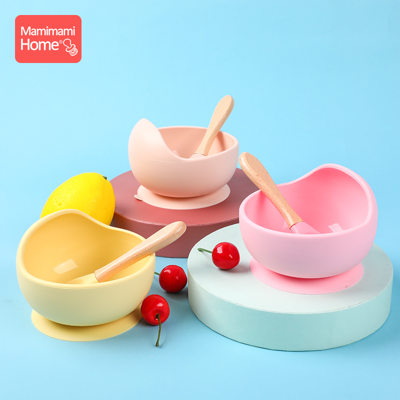 Baby Silicone Dishes Dining Plate Bowl Tableware Spoon Food Dinnerware For Kids Suction Cup Fixing BPA Free Feeding Dinner Bowl