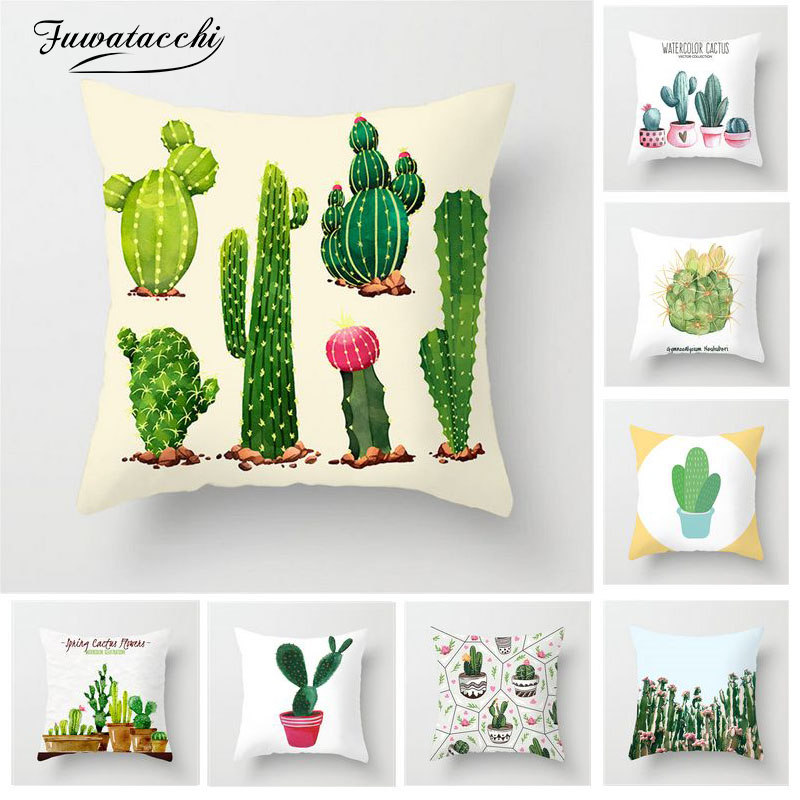 Fuwatacchi Tropical Plant Cushion Cover Cactus Green And White Printed Pillow Cover For Home Chair Sofa Decorative Pillowcases