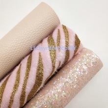 Fur-Roll Printed ZEBRA Fabirc Making-Bows Glitter PINK Leosyntheticodiy Mini 30x134cm