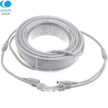 5 m/10 m/20 m/30 m rj45 ethernet cabo cat5/CAT-5e + dc power lan cabo de rede para câmera ip nvr cctv sistema