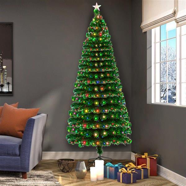 Artificiel décoré Fiber optique arbre de noël vert noël en plastique arbre nouvel an maison ornements décorations de bureau avec 260 LED