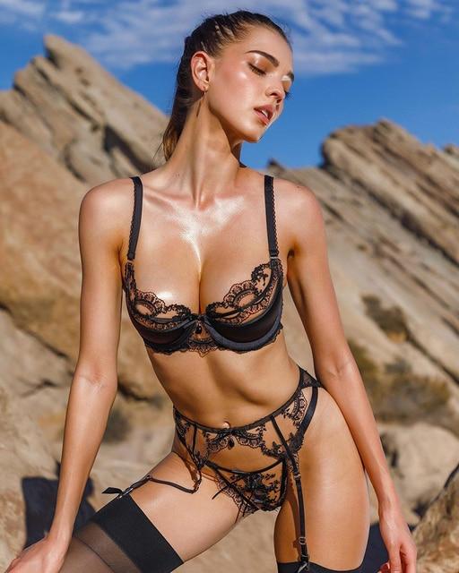 Hot Transparent Black Lace Lingerie Set Erotic Push Up Bra 2