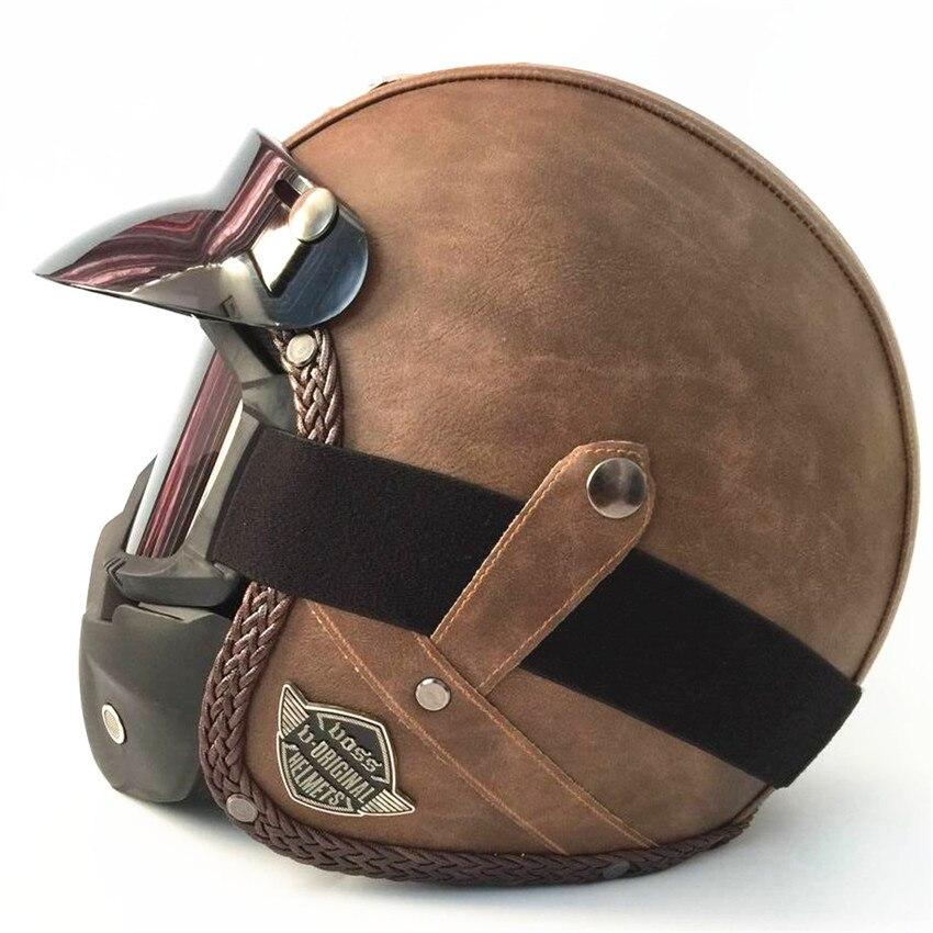 Casques en cuir PU 3/4 moto Chopper ouvert visage casque de vélo vintage moto casque avec lunettes masque