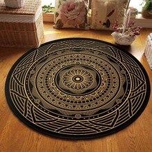 Alfombra Retro de alfombras redondo geométrico para sala de estar, felpudo Floral, alfombra para suelo de puerta para oración, alfombra antideslizante para dormitorio