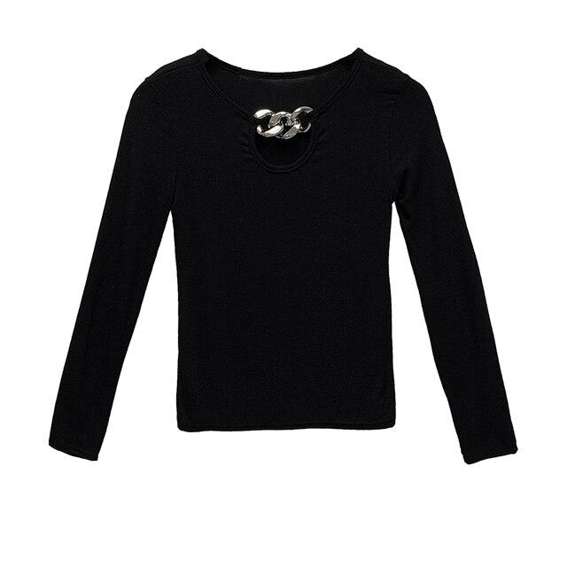 Spring Autumn New Women Slim T-Shirt 2020 Ladies Long Sleeve Short T-shirt Women Fashion Metal Button Decorative Base T-shirt