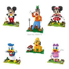 цена на hot lepining creators cartoon animals Mouse duck dog Mickey Goofy Donald Minnie Daisy Pluto mini micro diamond block bricks toys