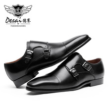 DESAI Brand Genuine Leather Men Shoes With Double Buckle Height Increase Shoes For Men Wedding 6cm Increase Mens Shoe