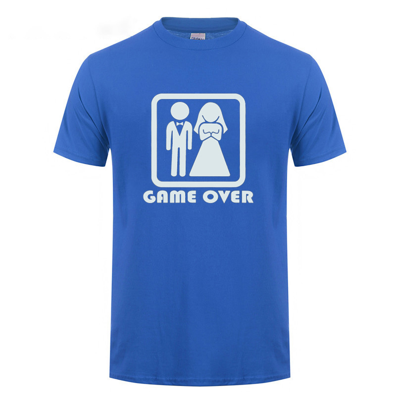 Game Over Bride Groom Bachelor Bachelorette Party Marriage Wedding Gift Men T Shirt T-shirt Short Sleeve Round Neck Tshirt Tee