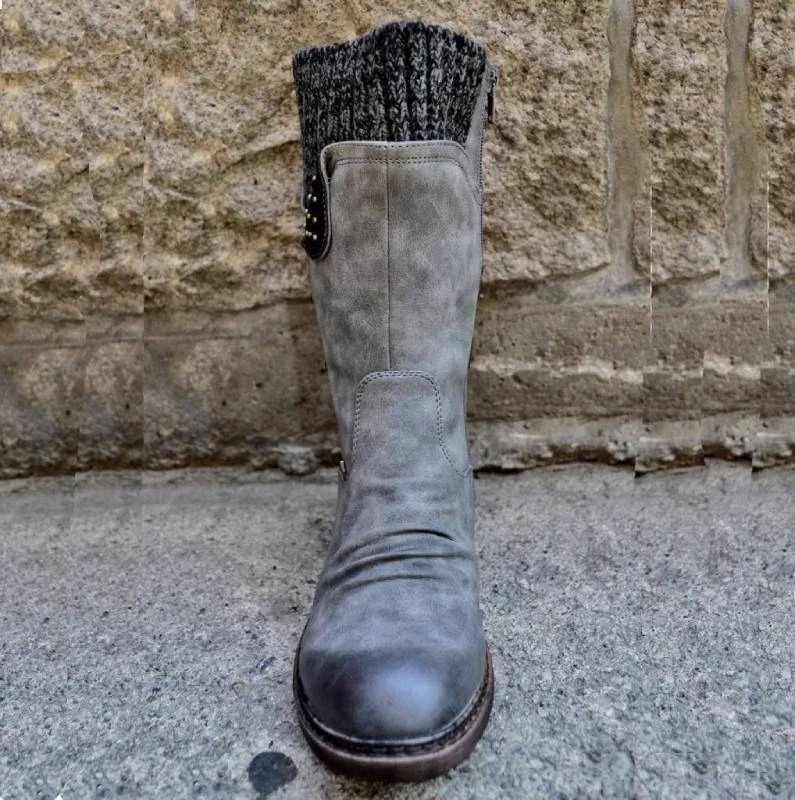Botas de nieve de invierno para mujer, con cremallera, de piel sintética, a media pantorrilla, con lazo trasero, diseño sólido, zapatos de tacón bajo