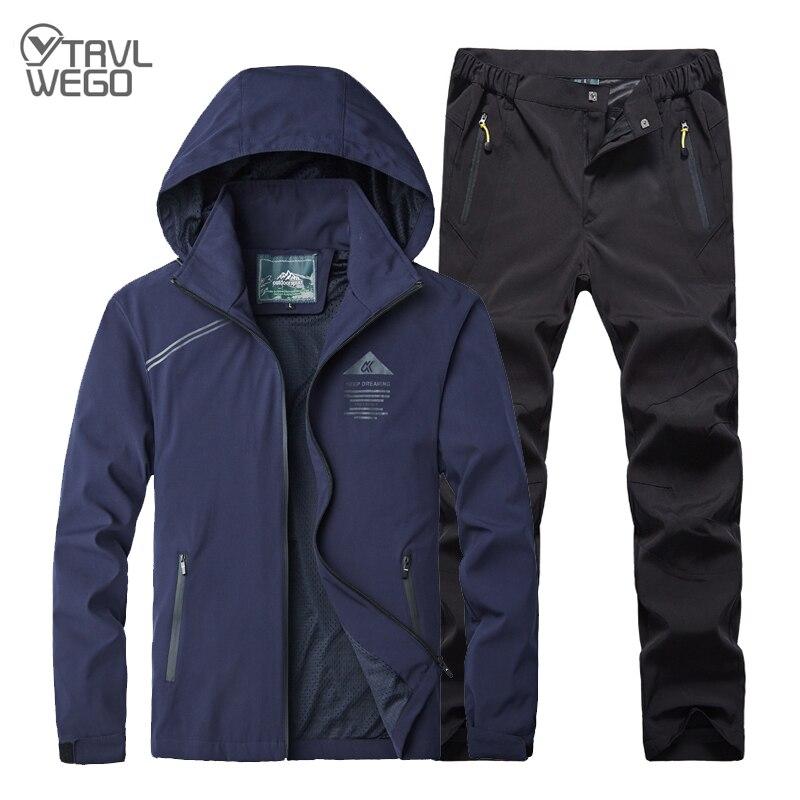 TRVLWEGO мужской весенне-осенний спортивный костюм для рыбалки, походов, походов, альпинизма, водонепроницаемые куртки + быстросохнущие брюки