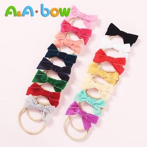 Velvet Scrunchie Bow gumki do włosów opaski gumowe akcesoria do włosów dla dzieci dziewczyny śliczne uszy królika elastyczny uchwyt na kucyk