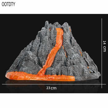 Simulation Volcano Model Spray Red Light Train Dinosaur Model Toy Accessories Sand Table Layout