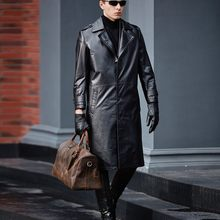Men Genuine Leather Trench High Quality Cowhide Black Long Jackets 2020 Fashion Business Casual Real Leather Coats Windbreaker(China)