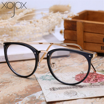 Metalowa oprawa Retro okulary ponadgabarytowe okulary z przezroczystymi szkłami mężczyźni kobiety przezroczyste optyczne kocie oko ramki okularów spektakl tanie i dobre opinie XojoX Unisex Stop Stałe YJK019 FRAMES Okulary akcesoria 45-46