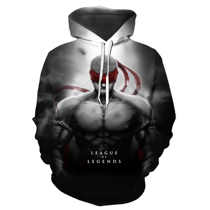 New 3D Printed League Of Legends Hoodies Lee Sin Twisted Fate LoL Hoodie Game Team Costume Brand Sportswear Street Wear Gym