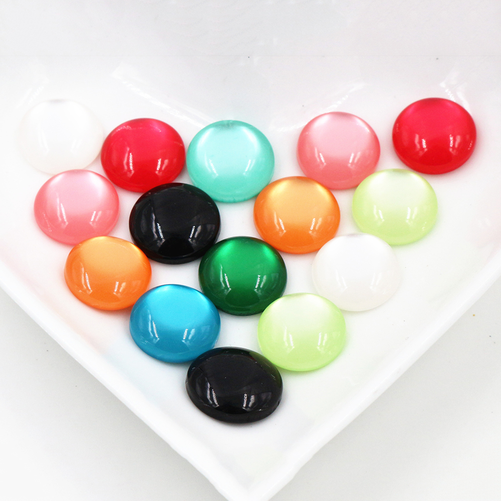 New Fashion Hot Sale 40pcs 12mm Mix Colors Flat Back Resin Cabochons Cameo