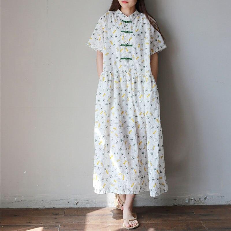 Verão vestido de manga curta jacquard luz retro Chinês arte bandeja botão do colarinho vestido da arte do chá UMA palavra mostra mulher fina