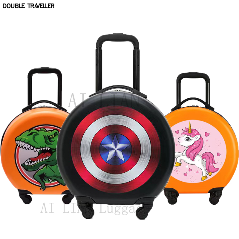 kids Travel suitcase on wheels,cartoon children trolley luggage bag case,kids rolling luggage,Cute carry on suitcase, rounded