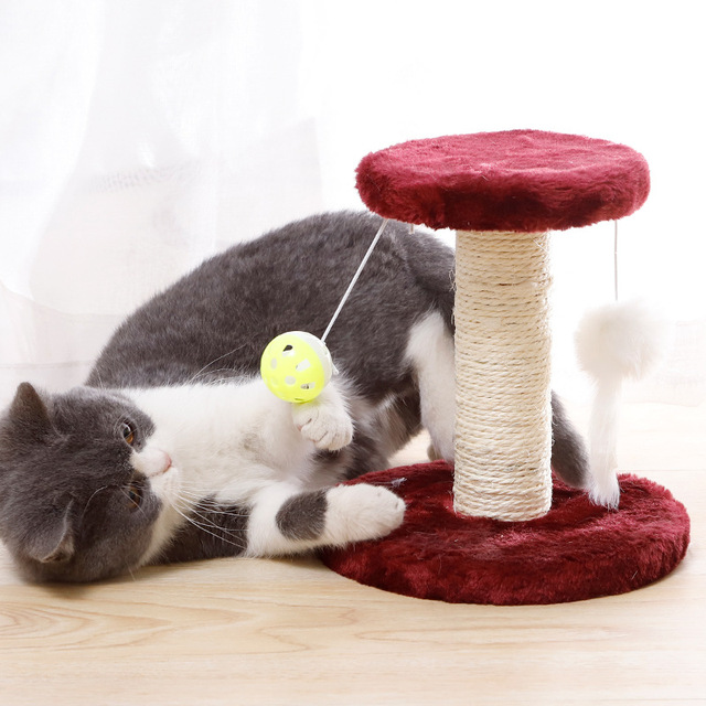Cat Scratcher Tree Plush Cat Climbing Frame Pet Toy Double Drop Ball Mouse Plush Claw Sisal Column For Cat Grind Claws Catch 5