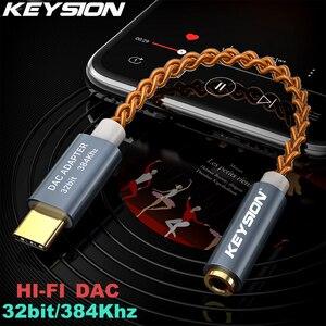 Image 1 - KEYSION HIFI DAC earphone Amplifier USB Type C to 3.5mm Headphone Jack audio adapter 32bit 384kHz Digital Decoder AUX Converter