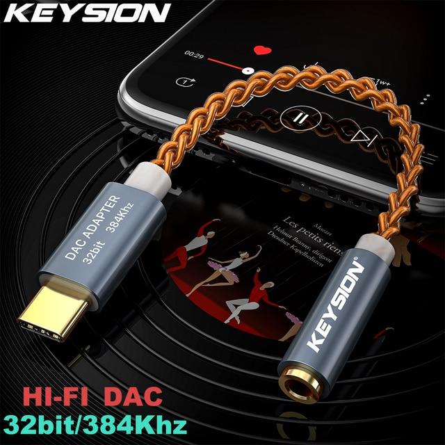 KEYSION HIFI DAC earphone Amplifier USB Type C to 3.5mm Headphone Jack audio adapter 32bit 384kHz Digital Decoder AUX Converter