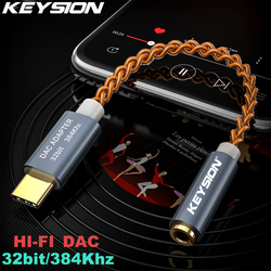 Keysion HI FI DAC Earphone Amplifier USB Tipe C untuk 3.5 Mm Headphone Jack Audio Adapter 32bit 384 KHz Digital Decoder aux Converter
