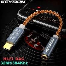 Keysion hifi dac 이어폰 증폭기 usb 유형 c ~ 3.5mm 헤드폰 잭 오디오 어댑터 32bit 384 khz 디지털 디코더 aux 변환기