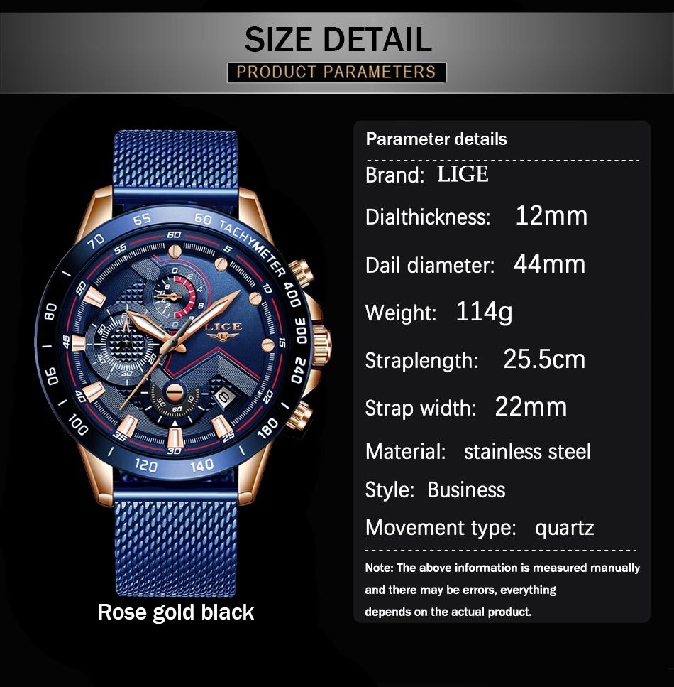 LIGE azul Casual malla Correa moda cuarzo oro reloj para hombre relojes marca superior reloj impermeable de lujo 3