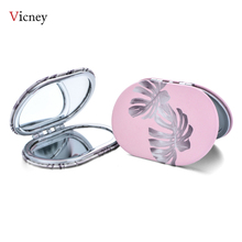 Vicney 2019 New Creative Mini Oval Makeup Mirror Compact Pocket Double Sided Fashion Classic Portable