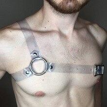 PVC регулируемый сексуальный бондаж мужской тела грудь высокого качества нагрудный ремень для тела плечо Броня БДСМ прозрачное уплотнительное кольцо нижнее белье с заклепками