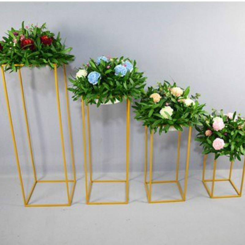 Flower Gold Vases Flowers Wedding Flower Rack Decoration Stands  Lead Metal Centerpiece Road Event For White Party