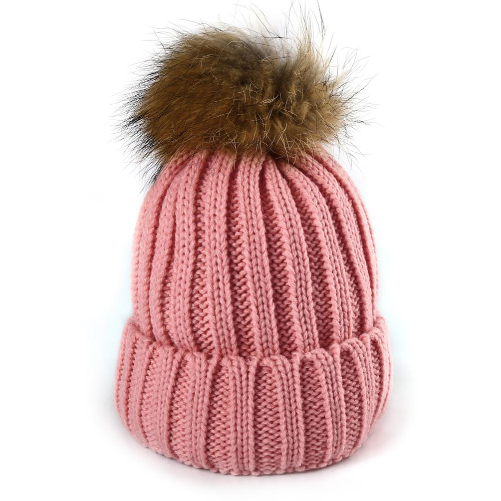 Women Winter Raccoon Fur Real Fur Ball Thick Warm Knit Cap Warm Ten Colors Hats