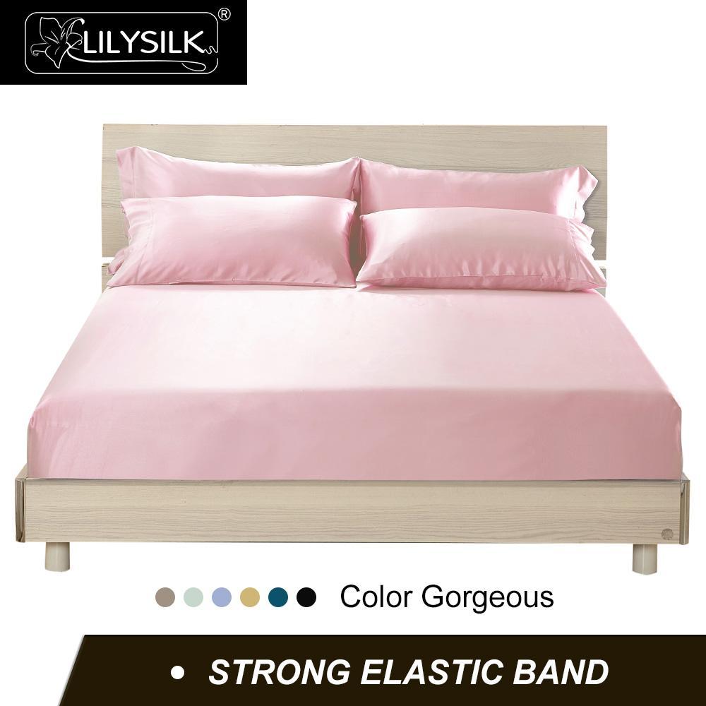 Lilysilk fitted sheet 실크 딥 40cm 100 pure mulberry silk 19 momme seamless 럭셔리 퀸 사이즈 홈 섬유 무료 배송-에서시트부터 홈 & 가든 의  그룹 1