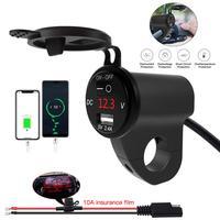 Cargador USB impermeable para motocicleta, toma de corriente con pantalla Digital, interruptor de apagado y voltaje, 2.4A
