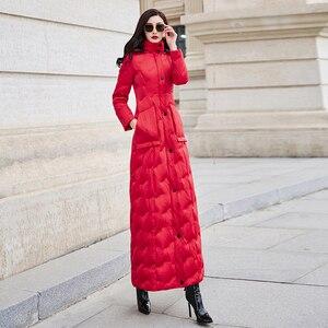 Image 3 - Красный пуховик для женщин 2019 зима новый тонкий Талия длинный теплый белый утиный пух Мода темперамент 6043