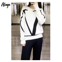 Aliaga 100% Pure Cashmere Sweater Ladies Star Fashion V Shape Jacquard Pullovers Winter Warm Women Knit Casual Korean Jumper