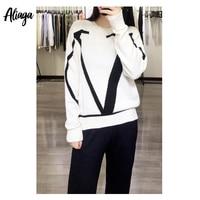 Aliaga 100% Pure Cashmere Sweater Ladies Star Fashion V Shape Jacquard Pullovers Winter Warm Women Knit Casual Korean Jumper