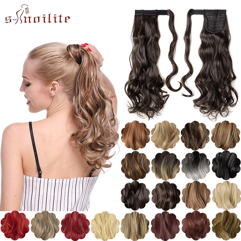 S-noilite Long Wavy Ponytail Wrap Around Hairpieces Clip In Ponytail Synthetic Clip In Hair Extensions Fake Hair For Women